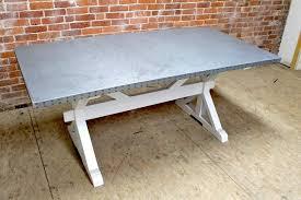 images zinc table top: zinc top dining table trestle base farmhouse dining tables
