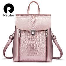 REALER <b>women backpack</b> split <b>leather</b> school backpacks for <b>girls</b> ...