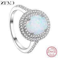 2019 <b>ZEMO</b> Natural Fire Opal Stone Rings 100% <b>925 Sterling Silver</b> ...