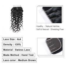 <b>Bigsophy Brazilian hair</b> deep wave closure 100 Human <b>Hair</b> 4*4 ...