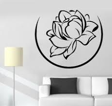 <b>Wall</b> Sticker Buddha <b>Yin Yang Floral Flower</b> Yoga Mandala Vinyl ...