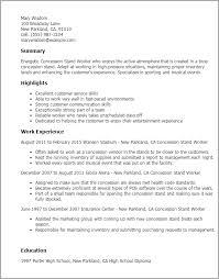 sample worker resume  seangarrette coconcession stand worker resume templates concession stand worker   worker resume