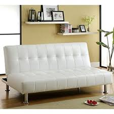 bulle white leatherette finish futon sofa bed by furniture of america aria futon sofa bed
