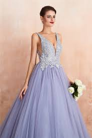 <b>Ball Gown</b> Appliqued <b>Lavender Prom</b> Dress with Beading