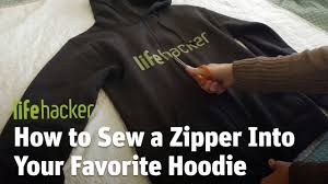How to Sew a <b>Zipper</b> Into Your Favorite <b>Hoodie</b> - YouTube