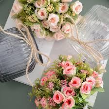 Useful Wedding Artificial flowers <b>13 heads</b>/<b>bouquet</b> small bud silk ...