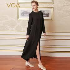 <b>VOA 2017 Fall</b> Fashion Gothic Cool Solid Black Silk Trench Coat ...