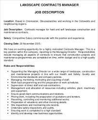 landscape contracts manager job description contract manager job description
