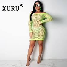 <b>XURU Summer New Women'S</b> Mesh Sexy Dress Solid Color One ...