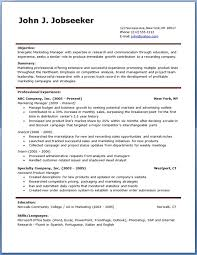 free job resume template   template sample    professional marketing manager resume example  free job resume template