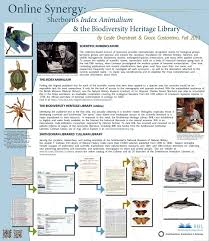 biodiversity heritage library  finally the poster presented by grace costantino and leslie overstreet entitled ldquoonline synergy sherborn s index ani um and the biodiversity heritage