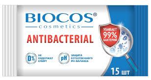 <b>BioCos Влажные салфетки</b>, антибактериальные, 15 шт — купить ...