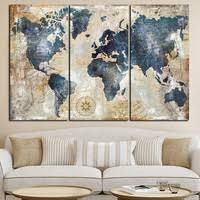 3Panel Watercolor World Map <b>Modular Painting Prints</b> on <b>Canvas</b> ...