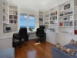contemporary home office with built in bookshelf comfort products mid back black leather built home office