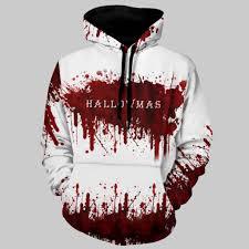 <b>Halloween</b> Women <b>Men</b> Couples <b>Blood</b> Print Long Sleeve Hoodie ...
