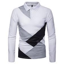 Men's Irregular Splicing Large Size Lapel Long Sleeve T-Shirt Sale ...