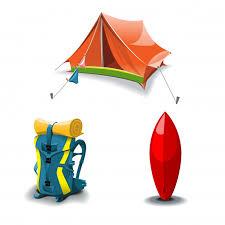 Палатка, <b>рюкзак</b> и набор для <b>серфинга</b> | Премиум векторы