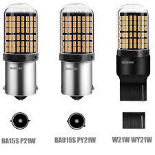 1PC T20 7440 W21W LED Bulbs 3014 <b>144smd</b> led CanBus No ...