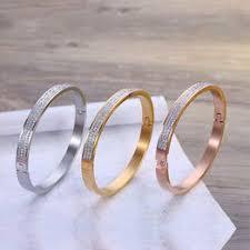 Luxury Fashion Titanium Steel Diamond Bracelet Ladies ... - Vova
