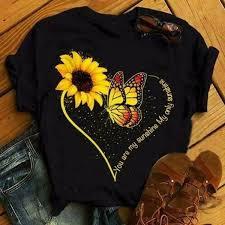 Ferryee <b>Sunflower Print Butterfly</b> T Shirt – ferryeestore