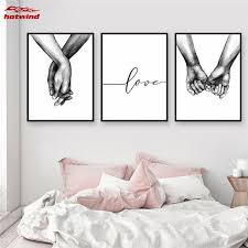 HW Nordic Black White Style Sweet <b>Love Wall Art</b> Canvas Poster ...