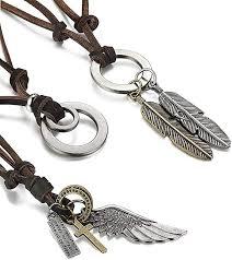 Sailimue <b>3 Pcs</b> Leather Necklace for Men Women Vintage Pendant ...