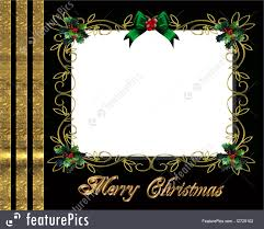 christmas border photo frame elegant image and illustration composition for christmas card party invitation photo card template border or frame holly leaves and gold ribbons on black