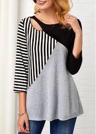 Stripe Print <b>Three Quarter Sleeve Hollow</b> Front T Shirt | Rotita.com ...