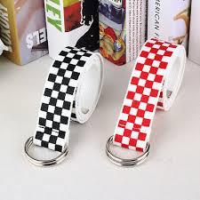 Men Women <b>Checkerboard Canvas</b> D Ring <b>Belt Plaid</b> Waist Strap ...