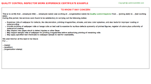 control inspector work experience certificatequality control inspector work experience certificate