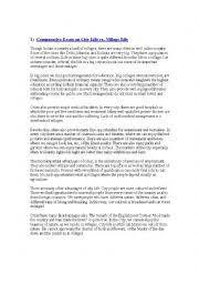 english worksheets  essay   city life vs  village lifeenglish worksheet  essay   city life vs  village life