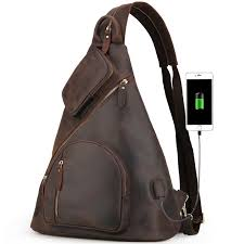 <b>Casual Outdoor</b> Sling <b>Backpack</b> with USB Charging Port