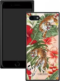 <b>Клип</b>-<b>Кейс Gresso</b> Glass <b>Apple iPhone</b> 8/7 прямоугольный тигр ...