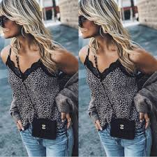 <b>Women Sexy</b> V Neck Leopard Print <b>Camisole Tank</b> Vest Blouse ...