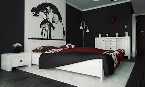 black and white bedroom furniture color ideas with tasty red bedcover and white rug also black black painted bedroom furniture