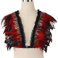 2019 Women <b>Goth Gypsy Feather</b> Feather Cage Bra Rave Body ...