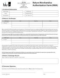 merchandise return form template return merchandise authorization form template return authorization form template and return