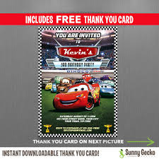 disney elena of avalor 5x7 in birthday party invitation and cars lightning mcqueen birthday invitation editable thank you card