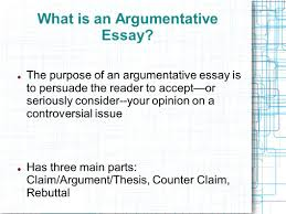 the argumentative essay introducing  argument  the counterclaim    what is an argumentative essay  the purpose of an argumentative essay is to persuade the