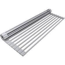 18 <b>12Pcs</b> Stainless Steel Pipes Roll-Up Dish Drying Rack <b>Large</b> ...
