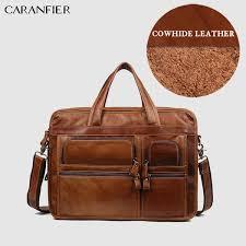 <b>CARANFIER</b> Mens Briefcase <b>Vintage</b> Lawyer <b>Genuine</b> Cow <b>Leather</b> ...