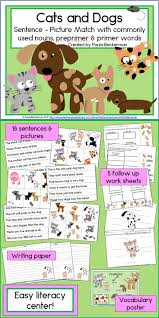 images about cats and dogs classroom theme cats and dogs sentence picture match