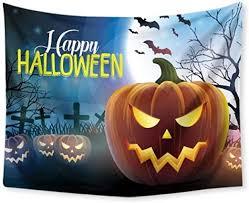 renqiancun <b>Halloween Theme</b> Polyester Tapestry Terror Pumpkins ...