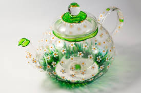 <b>Glass Teapot</b> with Infuser <b>Tea kettle</b> Floral <b>tea pot</b> Daisies <b>teapot</b> for ...