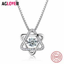 <b>AGLOVER</b> Real 925 <b>Silver</b> Women Star Pedant Necklaces with ...