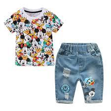 Boys <b>Summer</b> Cartoon Mickey Denim Pants + <b>Short Sleeve T Shirt</b> ...