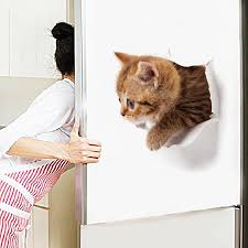 Real Naked Eye 3D Cat <b>Toilet Sticker Animal</b> Expression Wall ...
