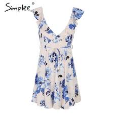 <b>V Neck</b> Print Backless Short Dress Women Ruffle Sleeveless Sash ...