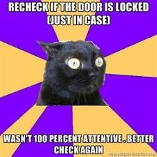 Anxiety Cat - recheck if the door is locked (just in case) wasn't ... via Relatably.com