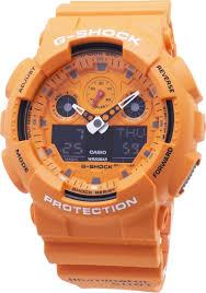 Наручные <b>часы Casio</b> G-Shock, <b>GA</b>-<b>100RS</b>-<b>4AER</b>, оранжевый
